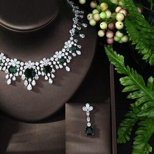 Image 3 - HIBRIDE najnowszy luksusowy Sparking Brilliant Cubic naszyjnik cyrkoniowy kolczyki ślubne biżuteria dla nowożeńców sukienka akcesoria N 988
