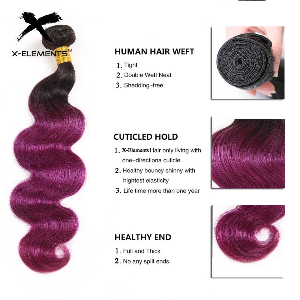 X-Elements Brazilian Ombre Body Wave Hair Bundles T1B 30 Burgundy 39J Purple Colored Human Hair Weave Non-Remy Hair Extensions (2)