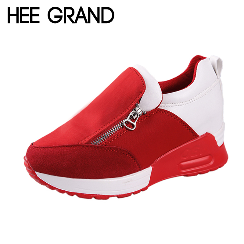 HEE GRAND Zipper Casual Creepers 2018 New Spring Platform Shoes Woman Slip On Comfortable Women Flats Shoes Size 35-42 XWD6259 phyanic 2017 gladiator sandals gold silver shoes woman summer platform wedges glitters creepers casual women shoes phy3323