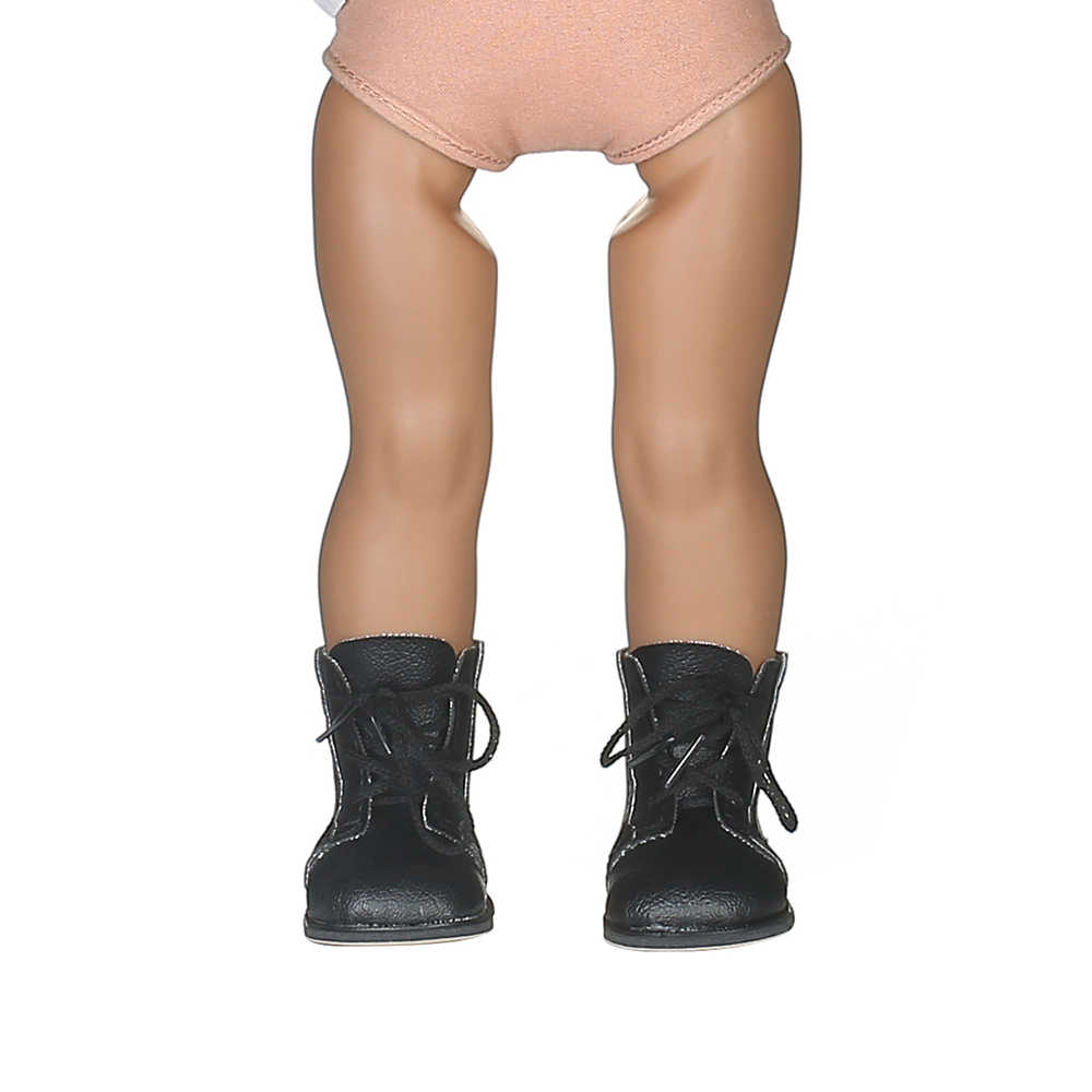 Doll Shoes Black Leather Boots For 18 Inch American Doll&43 Cm Baby Doll For Our Generation Girl`s Toy  Best Christmas Gifts