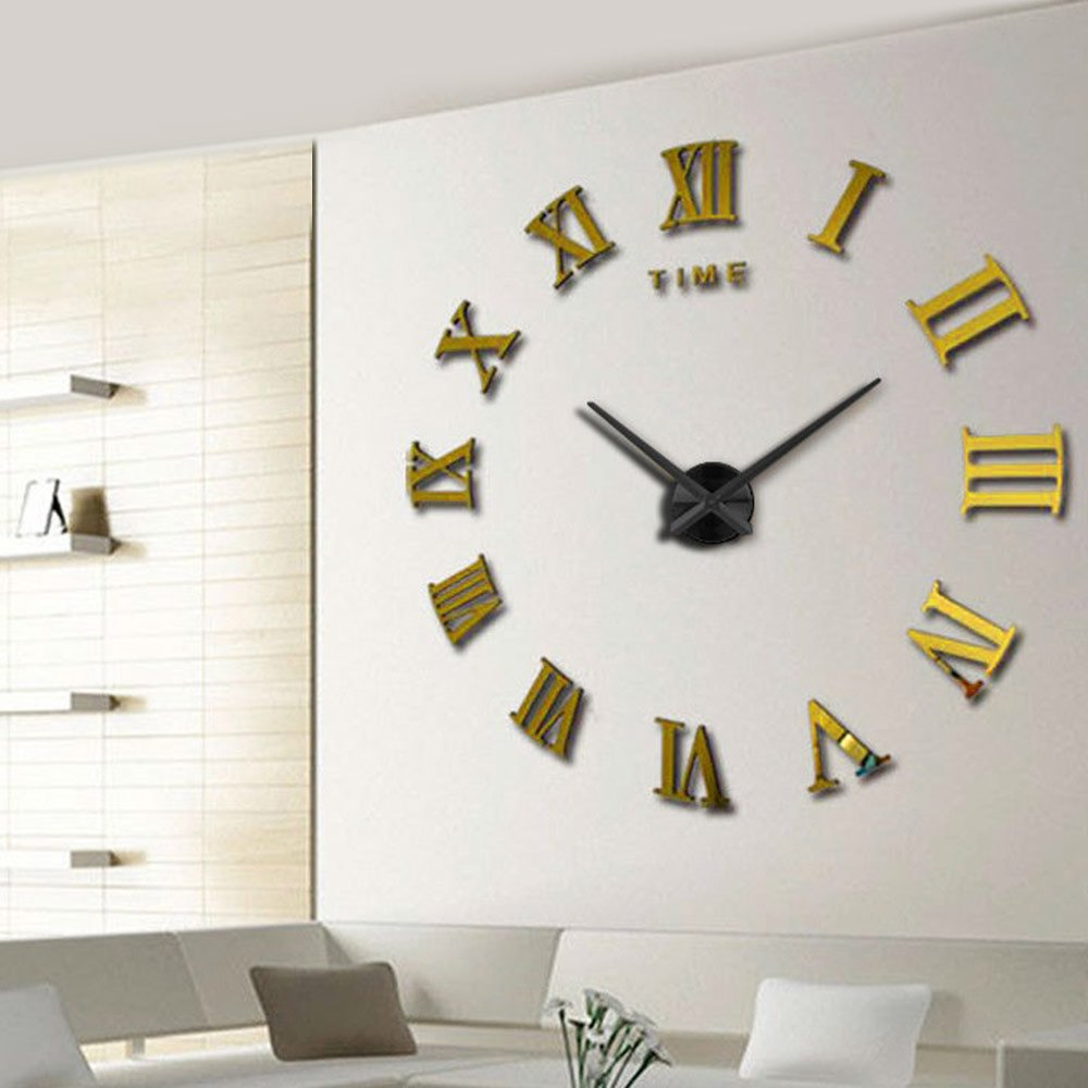 aliexpresscom  buy  modern diy interior roman numeral scales  - aliexpresscom  buy  modern diy interior roman numeral scales wallclock d mirror sticker metal home decor horloge large wall clock fromreliable