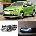 EeMrke LED Luces de Circulación Diurna Para VW Volkswagen Polo 2014 2015 2016 Niebla Cubierta de La Lámpara Blanca DRL Luz Kits