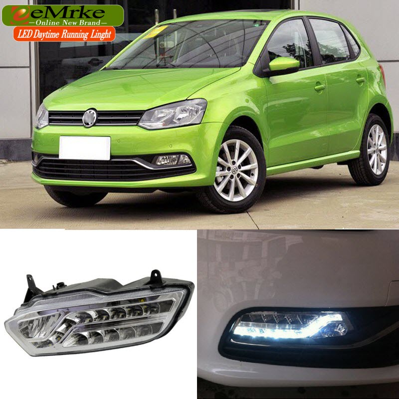 eeMrke LED Daytime Running Lights For VW Volkswagen Polo 2014 2015 2016 White DRL Light Fog Lamp Cover Kits