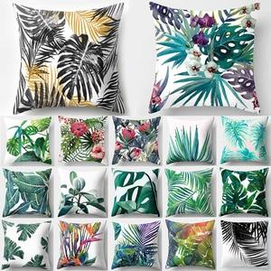 Tropical Leaf Cactus Monstera Cushion Cover Polyester Throw Pillows Sofa Home Decor Decoration Decorative Pillowcase 40506-1