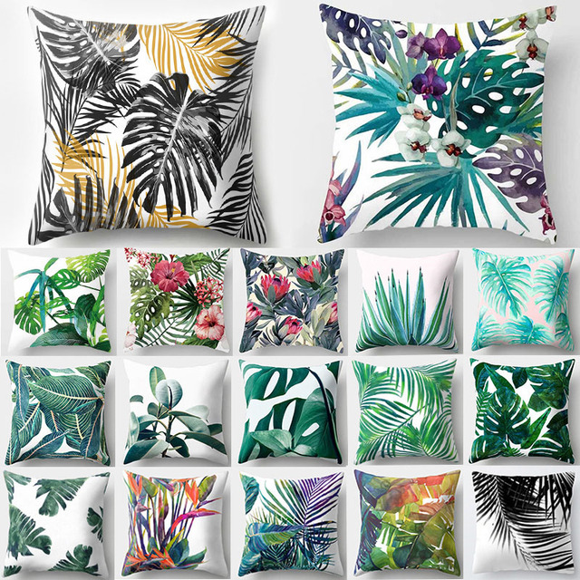 Tropical Flowers Patterned Cushion Cover
