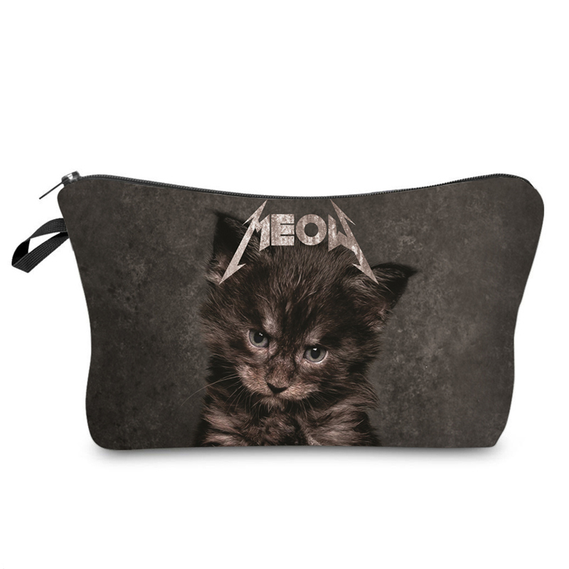 Hot Sale Ladies Cosmetics Organizer Pouch Storage Bag Gifts Fashion Cute 3D Cat Printing Zipped Women Travel Makeup Bags