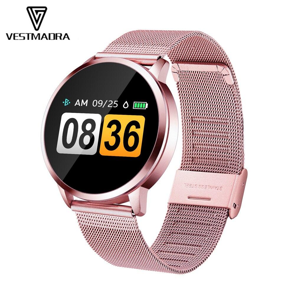 VESTMADRA New Q8 Smart Watch OLED Stainless Steel Waterproof Wearable Device Smartwatch Wristwatch Men Women Fitness Tracker