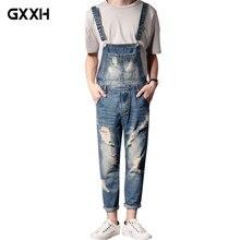 New Men'S Plus Size Jeans Overalls Large Size Huge Denim Bib Pants Fashion Pocket Hole Jumpsuits Ankle Length Male 3XL 4XL 5XL