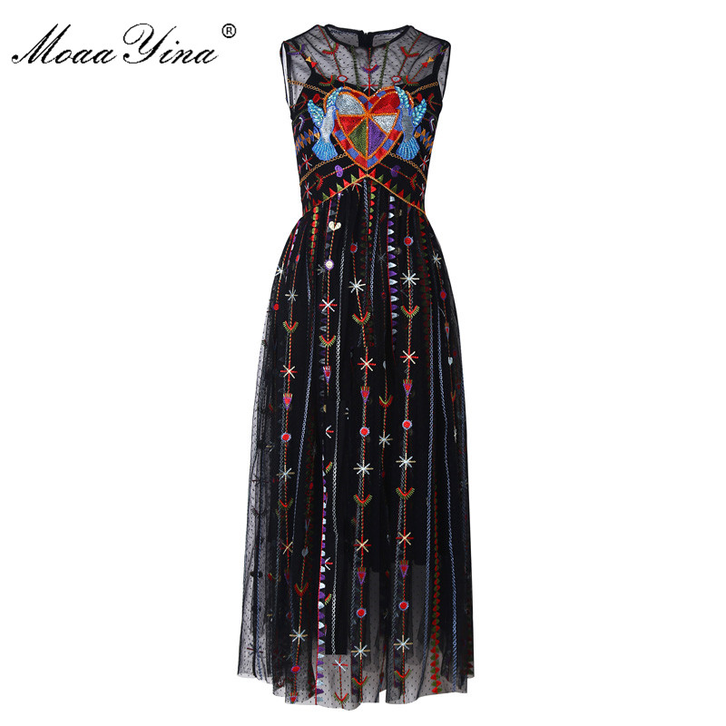 MoaaYina Fashion Designer Piste robe Printemps Été Femmes Robe Maille Bande Oiseau Broderie Cristal Perles Élégant Robes