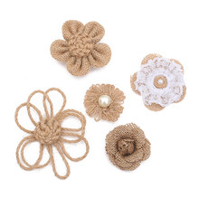 5 pcs DIY Wedding Party Decoration Burlap Flower Delicate Craft Hat Rose Natural Jute Hessian Flower Handmade Decor(China)