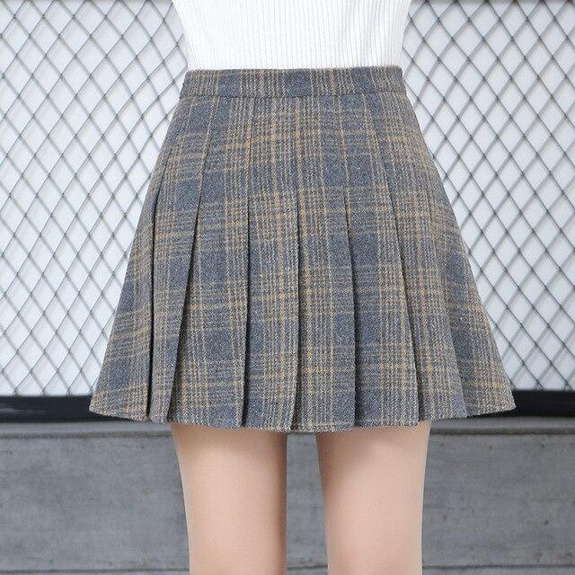 8cdfbffb5cea5 US $16.0 |Women Girls Plaid Skirt High Waist Pleated Skater Skirt A line  School Skirt Uniform With Inner Shorts Casual Skirt Female-in Skirts from  ...