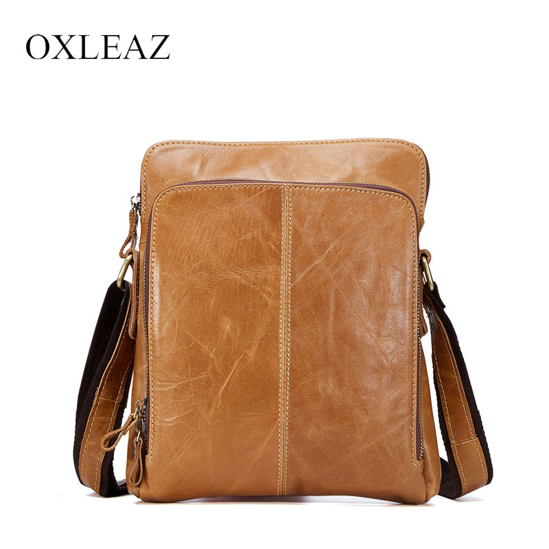 OXLEAZ Slim Vintage Genuine Leather Mens Messenger Bags Small Man Bag Shoulder Bag Casual Male Cross Body Bags for Men leisure mens brand totes bags 2017 new selling fashion man leather messenger bag male cross body shoulder business bags for