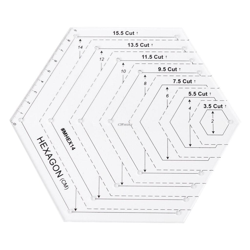 Ootdty Hexagon Quilting regla patchwork plantilla de plástico DIY ...