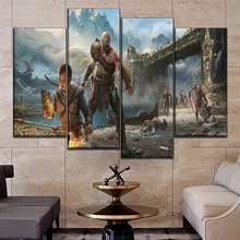 Wall Art Home Decor Modular Picture One Set Game Poster 4 Pieces High Quality Canvas Print God of War Painting Modern Artwork