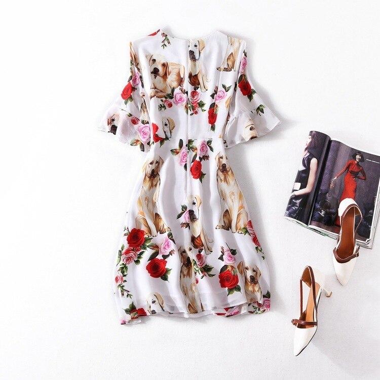 Vestido de verano de línea A de corte ligero nuevo patrón de productos competitivos traje vestidos de seda Real vestido de cintura corta-in Vestidos from Ropa de mujer    2