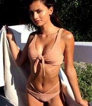 цены 2019 Women Tie Front Bikini Set Bandeau Biquini Bandage Bathing Suit Female Low Waist Strap Bottom Swimsuit Bow Knot Bikinis