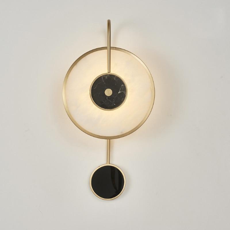 Marbre créatif de luxe rond unique tête applique murale en métal plaqué or LED éclairage pour post moderne salon décoration