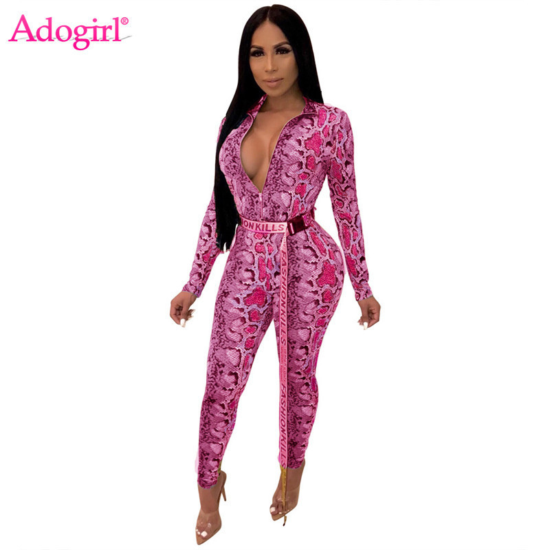 Adogirl Snakeskin Print Women Bandage Jumpsuit Zipper V Neck Long Sleeve Casual Romper Sexy Club Party Outfits Female Bodysuits