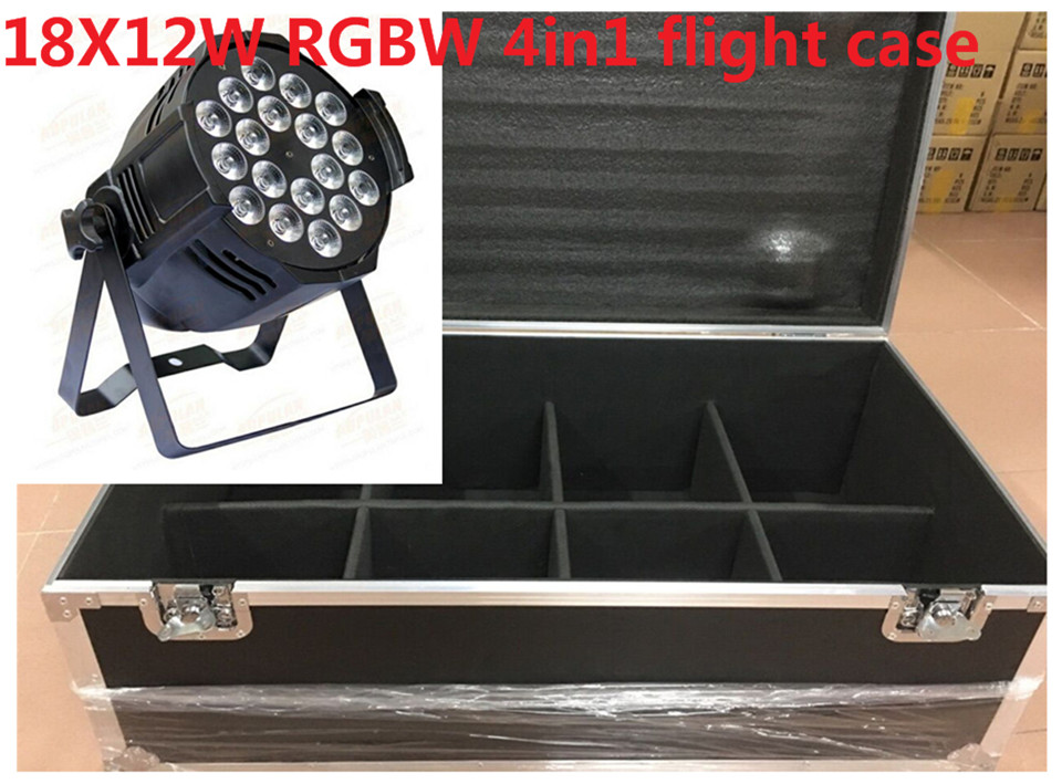 все цены на 8 X18x12 W LED Par Luces con flight case 1 Llevo la Luz de Par RGBW 4in1 LED Par DMX 6/8 Canales Led Flat Par LED de Lujo luces
