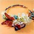Moda Borboleta Flor Floral Headpiece Nupcial Do Casamento Acessórios Para o Cabelo de Rosa de Seda Artificial Hortênsia Flor Coroa Tiara