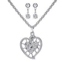 Gelin hediye takı setleri gelin gümüş kalp avusturyalı kristal moda Kolye küpe lüks mücevher seti düğün kadınlar