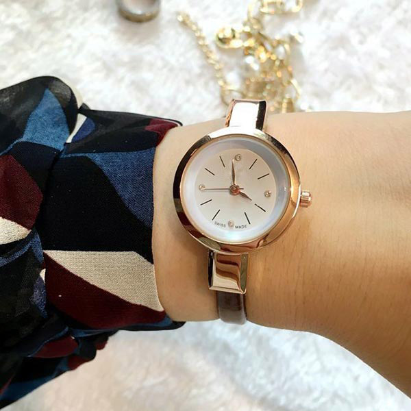 Crystal Lady Watch Small Simple Round Dial Clock Zircon Thin Leather Strap Quartz Watch Wristwatches for Women Ladies Girl LL@17 kaladia 8926 diamond quartz watch tiger pattern round dial leather strap for women
