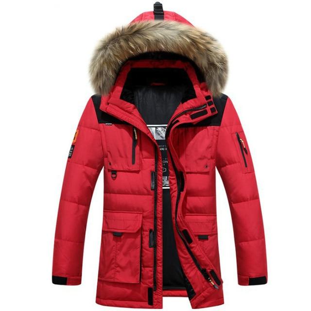 f744931fc50 Raccoon Fur Hood Men Down Jacket Winter Thicken Windbreaker Snow Warm  Overcoat Hat Long Parka Duck