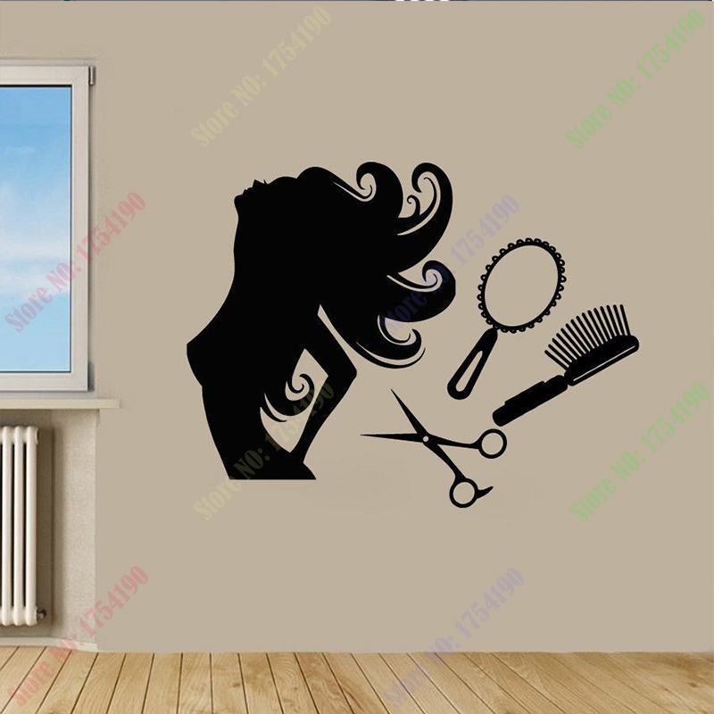 Hair salon wall decal vinyl sticker beauty barber shop for Stickers salon design