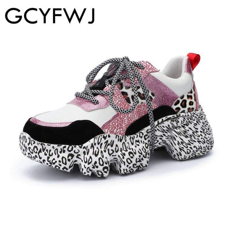GCYFWJ جلد منصة رياضة المرأة المدرج أحذية امرأة عارضة Chaussures فام سميكة سوليد متعددة اللون السيدات أحذية جديد XF078-في أحذية مطاطية نسائية من أحذية على  مجموعة 1