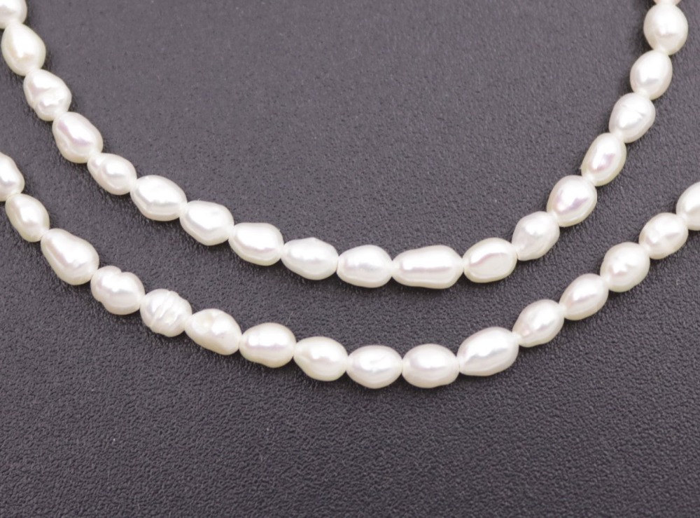 Купить с кэшбэком Natural White Baroque Drop Pearl Loose Beads Jewelry Making 14 inches 3mmX4-5mm