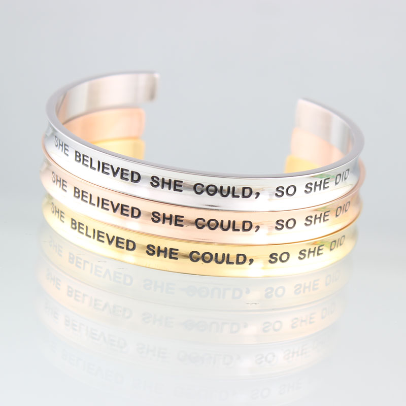 2017 New 7mm Stainless steel Bangle Mantra Bracelet Engraved SHE BELIEVED SHE COULD, SO SHE DID Cuff Friendship Bangle Bracelet