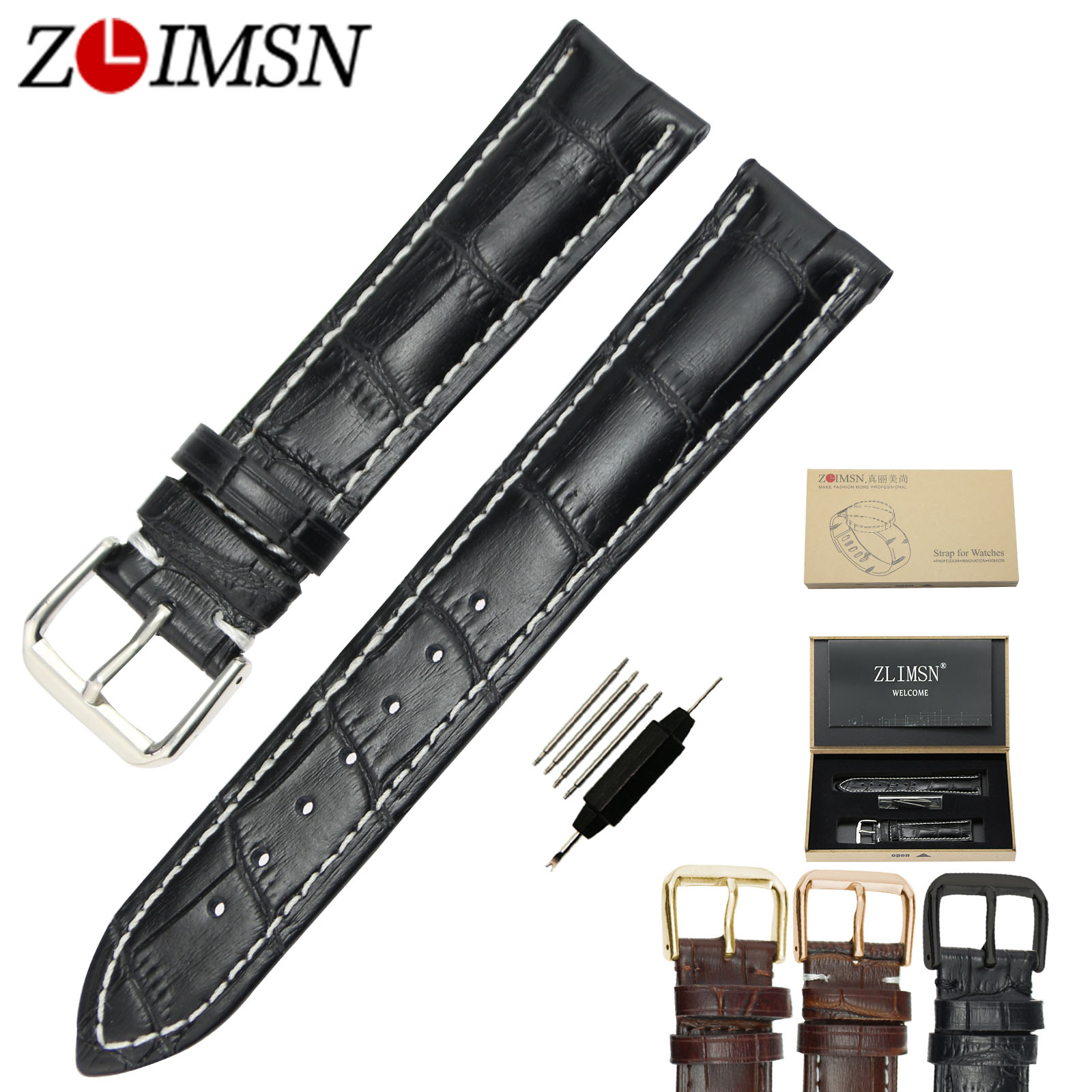 ZLIMSN Genuine Leather Watchbands for Casio Watch Belt 18 19 20 21 22 23 24mm Stainless Steel Buckle Silver Gold Rose Polished zlimsn high quality thick genuine leather watchbands 20 22 24 26mm brown watch strap 316l brushed silver stainless steel buckle