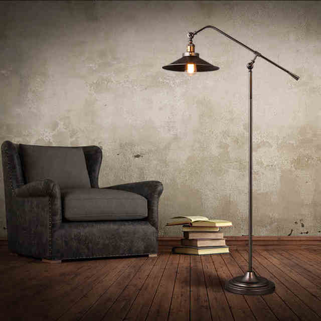 American countryside vintage loft personality long arm floor lamp american countryside vintage loft personality long arm floor lamp study light foyer bedroom floor light ac90 mozeypictures Images