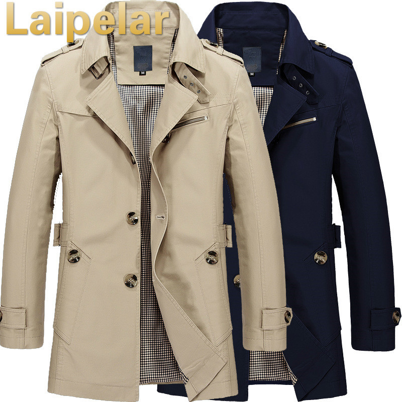 Plus Size Men   Trench   Coat M-5XL Casual Long Section Winter Jacket Overcoat Laipelar Autumn Fashion   Trench   Coat Outwear