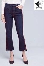HDP010 женская мода Двойной боковой панели нерегулярные лестница флэш джинсовые брюки девять micro ракетницы джинсы вышивка/2 цвет/6 размер