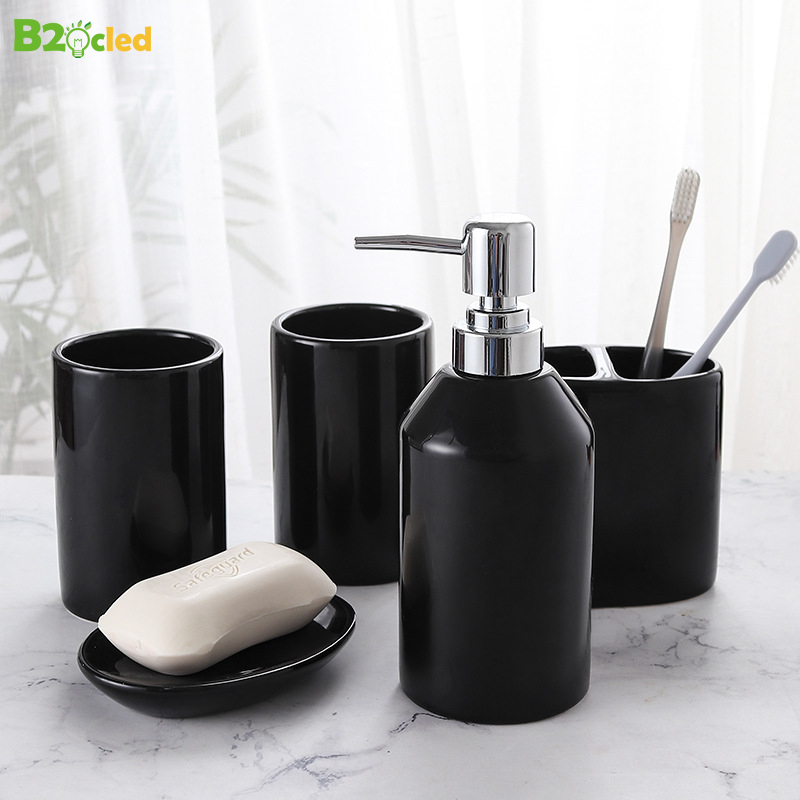 B2OCLED Liquid Soap Dispenser Wash Cup Set Mouth Cup Set Household Ceramic Bathroom 5 piece Brushing