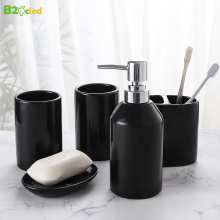 B2OCLED Liquid Soap Dispenser Toothbrush Cup Set Household Ceramic Bathroom 5-piece Dish Bottle