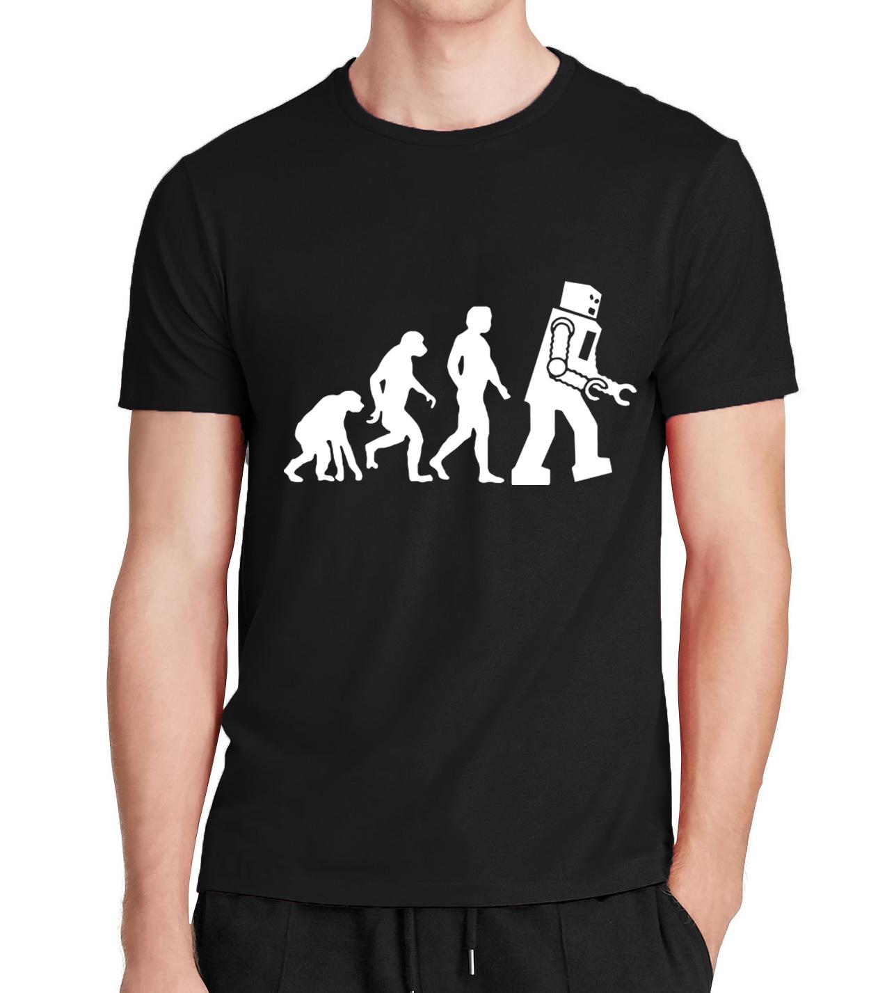 Robot Evolution font b Men s b font T shirts hipster streetwear t shirt homme 2017
