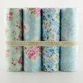 2015 nuevo 4 UNIDS 40 cm x 50 cm azul claro conjunto de flor Impresa tela para acolchar patchwork tecido tela ropa de cama de tissus