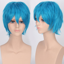 28 Cm Harajuku Heat Resistant Cosplay Wig Anime Men's Synthetic Hair Male Light Blue Short Straight Wig Peruca Perruque H045