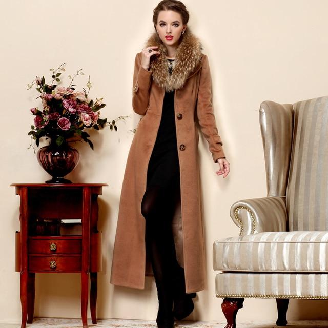 Fashion Autumn winter women's large fur collar wool coat plus size ...
