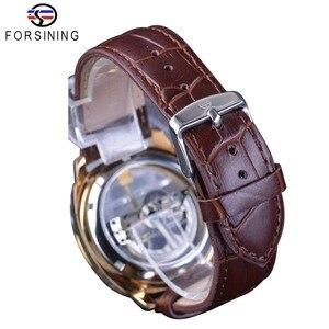 Image 5 - Forsining Double face Transparent doré lunette marron cuir ceinture hommes montre automatique Top marque luxe mécanique squelette horloge