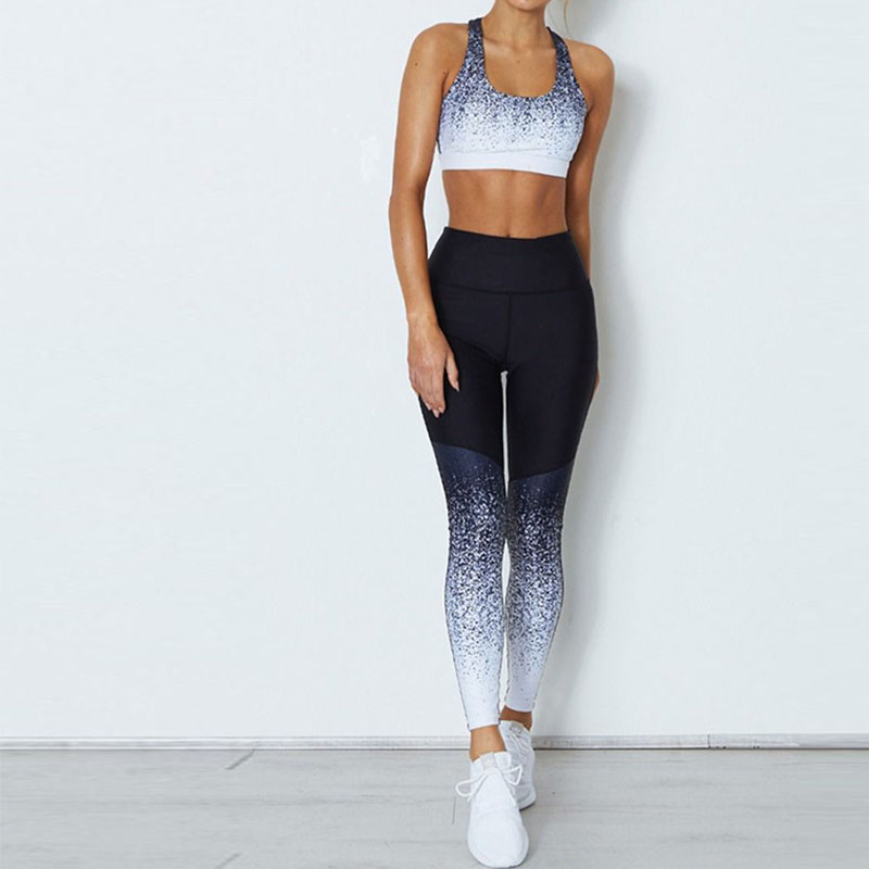 New women leggings Sexy fitness high waist leggings Tracksuit Set 2pc Workout pants and Bra sets sexy sports bra and leggings