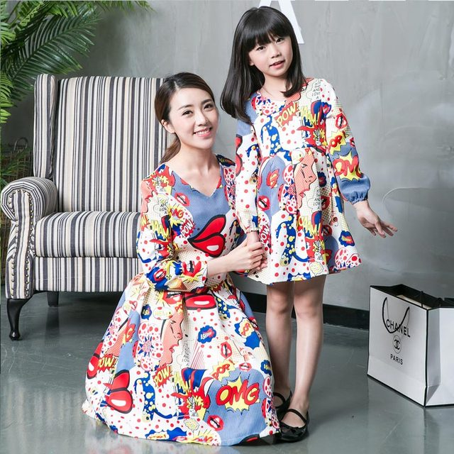 Spring Autumn Family Matching Clothes Mother and Daughter Long-sleeve Dresses Cartoon Mom Daughter Family Clothing