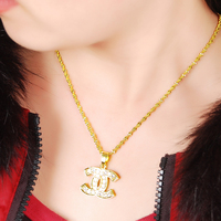 Promotion Sale High Quality 24K Gold Necklace Women Classic Jewelry Pendant Necklaces Gold Wedding Jewelry