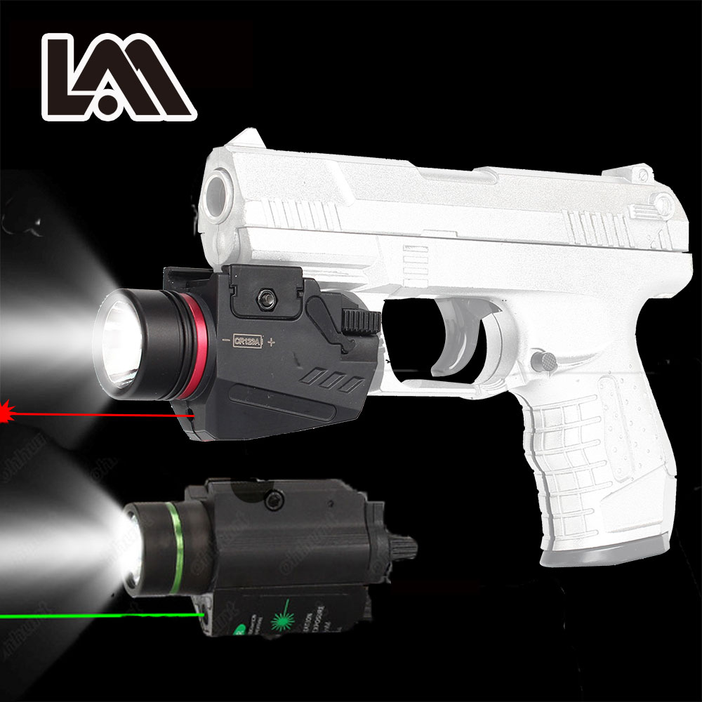 Tactical LED Flashlight Green / Red Laser Sight For 20mm Rail Mini Glock Pistol Gun Light lanterna Airsoft Light hunting compact tactical green laser sight flashlight combo low profile pistol handgun light with 20mm picatinny rail