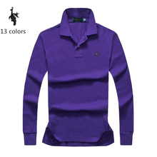 Digital Peacock 2018 New Classic Mens Polo Shirts Long Sleeve Spring Shirt Brands Camisa Masculina Plus Size 4XL