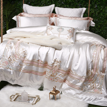 Роскошная вышивка, 100 S, Египетский хлопок, свадебные комплекты постельного белья, Королевский пододеяльник, простыня, набор, наволочка, белы