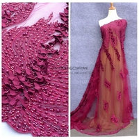 Wine Handmade3D Flowers Beading Sequins Wedding Evening Show Dress Lace Fabric 51 Width 1 Yard Wholesal