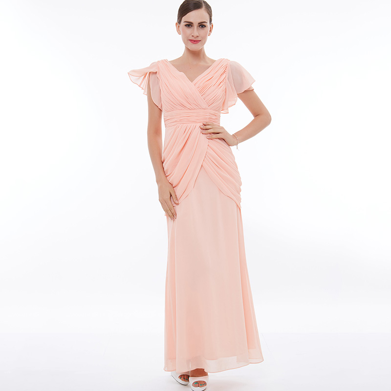 Tanpell ruched prom dress pink v neck short sleeves floor length a ...